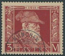 BAYERN 88II O, 1911, 3 M. Luitpold, Type II, Pracht, Mi. 80.- - Bayern (Baviera)