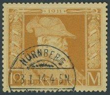 BAYERN 90II O, 1911, 10 M. Luitpold, Type II, Leichte Bugspur Sonst Pracht, Mi. 400.- - Bayern (Baviera)