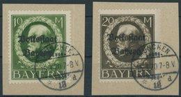 BAYERN 132/3IIA BrfStk, 1919, 10 Und 20 M. Volksstaat, 2 Prachtbriefstücke, Gepr. Infla, Mi. (125.-) - Bayern (Baviera)