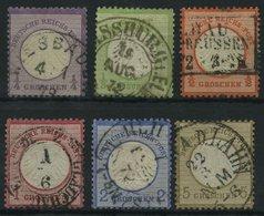 Dt. Reich 1-6 O, 1872, 1/4 - 5 Gr. Kleine Brustschilde, 6 Prachtwerte, Mi. 375.- - Deutschland