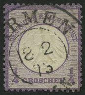 Dt. Reich 1 O, 1872, 1/4 Gr. Grauviolett, K2 BARMEN, Pracht, Gepr. Brugger, Mi. 120.- - Deutschland