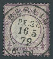 Dt. Reich 1 O, 1872, 1/4 Gr. Grauviolett, Idealer K2 BERLIN P.E.27, Marke Starke Rückseitige Stellen - Deutschland