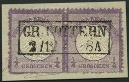 Dt. Reich 1 Paar BrfStk, 1872, 1/4 Gr. Grauviolett Im Waagerechten Paar, Rauhe Zähnung, Unten Nicht Ganz Perfekt, Zentri - Deutschland