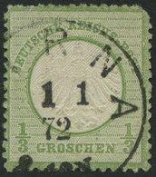 Dt. Reich 2a O, 1872, 1/3 Gr. Gelblichgrün Mit Ersttagsstempel PIRNA 1.1.72, Kleiner Randfehler Sonst Pracht, Fotoattest - Deutschland