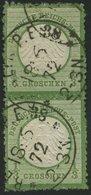 Dt. Reich 2b Paar O, 1872, 1/3 Gr. Dunkelsmaragdgrün Im Senkrechten Paar, Rauhe Zähnung, K1 BERLIN P.E. 38, Pracht, Foto - Deutschland