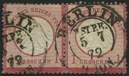 Dt. Reich 4 Paar O, 1872, 1 Gr. Rotkarmin Im Waagerechten Paar, K2 BERLIN H.ST.P.E. (Hofpostamt!), Normale Zähnung, Prac - Deutschland
