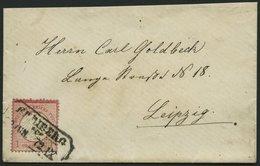 Dt. Reich 4XXIIIa BRIEF, 1872, 1 Gr. Rotkarmin Mit Plattenfehler Akzent über C, Kleiner Prachtbrief Von FREIBURG Nach Le - Deutschland