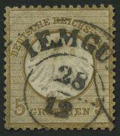 Dt. Reich 6 O, 1872, 5 Gr. Ockerbraun, Zentrischer Hannover K2 IEMGUM, Kleine Helle Stelle Sonst Pracht - Deutschland