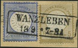 Dt. Reich 6,20 BrfStk, Mischfrankatur: 1872, 5 Gr. Mittelockerbraun Und 2 Gr. Ultramarin, R2 WANZLEBEN, Prachtbriefstück - Deutschland
