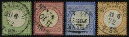 Dt. Reich 7,9/10,14 O, 1872, 1, 3, 7 Kr. Und 1/2 Gr. Kleine Brustschilde, 4 Prachtwerte, Mi. 275.-.- - Deutschland