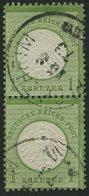 Dt. Reich 7 Paar O, 1872, 1 Kr. Gelblichgrün Im Senkrechten Paar, K1 PFORZHEIM, Pracht, Gepr. Sommer, Mi. 180.- - Deutschland