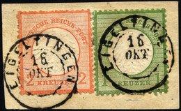 Dt. Reich 7/8 BrfStk, 1872, 1 Kr. Gelblichgrün Und 2 Kr. Ziegelrot Auf Briefstück Mit K2 EIGELTINGEN, Pracht (Marken Zur - Deutschland