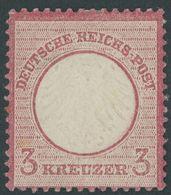 Dt. Reich 9 *, 1872, 3 Kr. Karmin, Falzreste, Farbfrisches, Sehr Gut Gezähntes Prachtstück, Fotoattest Sommer, Mi. (2400 - Deutschland