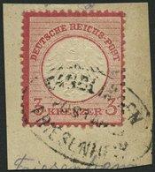 Dt. Reich 9 BrfStk, 1872, 3 Kr. Karmin, Postablagestempel DINGLINGEN/FRIESENHEIM, Prachtbriefstück, Fotobefund Brügger - Deutschland