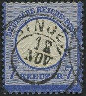 Dt. Reich 10 O, 1872, 7 Kr. Ultramarin Vom Unterrand, Badischer K2 SINGEN, Pracht - Deutschland
