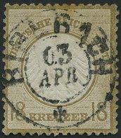 Dt. Reich 11 O, 1872, 18 Kr. Ockerbraun, Zentrischer Badischer K2 BIBERACH, Marke Oben Etwas Stockfleckig Sonst Pracht,  - Deutschland