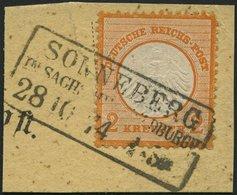 Dt. Reich 15 BrfStk, 1872, 2 Kr. Orange, R3 SONNEBERG In SACHS:MEININ. HILDBURGH., Prachtbriefstück, Mi. (250.-) - Deutschland