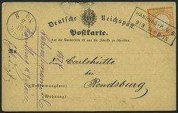 Dt. Reich 18 BRIEF, 1874, 1/2 Gr. Orange Auf Postkarte Mit R2 HAMBURG-P.V.6, Nach Rendsburg, Feinst - Deutschland