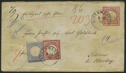 Dt. Reich 19/20 BRIEF, 1873, 1 Gr. Rotkarmin Und 2 Gr. Ultramarin Als Zusatzfrankatur Auf 1 Gr. Ganzsachenumschlag (U 5) - Deutschland