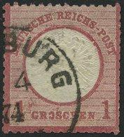 Dt. Reich 19IX O, 1872, 1 Gr. Rotkarmin Mit Plattenfehler O Und H In Groschen Gebrochen, Kerbe Unter P Von Post, Feinst  - Deutschland