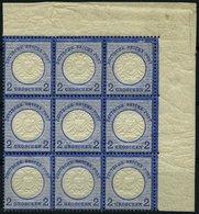 Dt. Reich 20 **, 1872, 2 Gr. Ultramarin Im Postfrischen Neunerblock Aus Der Rechten Oberen Bogenecke, Dabei Die Plattenf - Deutschland