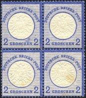 Dt. Reich 20 VB *, **, 1872, 2 Gr. Ultramarin Im Viererblock, 2 Werte Leichte Stockflecken Sonst Pracht - Deutschland