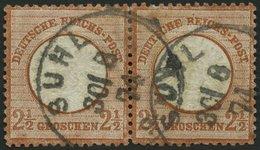 Dt. Reich 21a Paar O, 1872, 21/2 Gr. Rötlichbraun Im Waagerechten Paar, K1 SUHL, üblich Gezähnt Pracht, Mi. 240.- - Deutschland