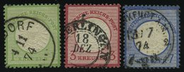 Dt. Reich 23,25/6 O, 1872, 1, 3 Und 7 Kr. Große Brustschilde, 2 Prachtwerte, Mi. 144.- - Gebraucht