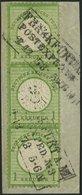 Dt. Reich 23a BrfStk, 1872, 1 Kr. Gelblichgrün Im Senkrechten Dreierstreifen, R3 FRANKFURT A. M. POSTEXPED. Nr. 3, Prach - Gebraucht