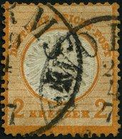 Dt. Reich 24 O, 1872, 2 Kr. Orange, TuT-Stempel WORMS, Fotobefund Brugger: Die Marke Ist Farbfrisch Und Sehr Gut Geprägt - Gebraucht