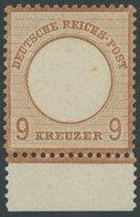 Dt. Reich 27aPräFI *, 1872, 9 Kr. Rötlichbraun, Unterrandstück Mit Prägefehler I Auf Feld 142, Falzrest, Pracht, Fotobef - Gebraucht