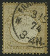 Dt. Reich 28 O, 1872, 18 Kr. Schwärzlichocker, Kleine Mängel, Feinst, Fotobefund Hennies, Mi. 2800.- - Gebraucht