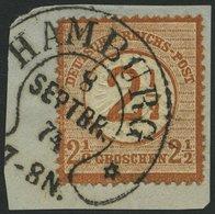 Dt. Reich 29 BrfStk, 1874, 21/2 Auf 21/2 Gr. Braunorange, Hufeisenstempel HAMBURG (Spalink 17-9), Prachtbriefstück, Foto - Gebraucht