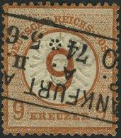 Dt. Reich 30 O, 1874, 9 Auf 9 Kr. Braunorange, R3 FRANKFURT A. M., Farbfrisch, Normale Zähnung, Pracht, Mi. 600.- - Deutschland