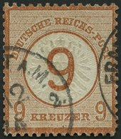 Dt. Reich 30 O, 1874, 9 Auf 9 Kr. Braunorange, Winzige Eckknitter, Normale Zähnung Sonst Pracht, Gepr. Brugger, Mi. 600. - Gebraucht
