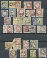 Dt. Reich Brustschilde: 25 Briefstücke Mit Verschiedenen Kleinen Zentrischen Abstempelungen, Fast Nur Pracht- Und Kabine - Gebraucht