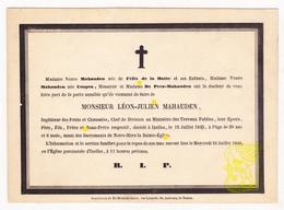 DB Ingenieur Chef - Léon Julien Mahauden ° Ixelles Elsene Brussel 1815 † 1845 X Félix De La Motte / Coupez De Prez - Images Religieuses