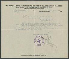 1927, Eigenhändiger Brief Von Schatzmeister Schwarz Auf Dienstbriefbogen Der NSDAP, Unterzeichnet Und Mit Hakenkreuzstem - Deutschland