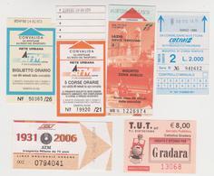 1338(10) ITALIA / ITALY / ITALIE. 6 Tickets / Billets / Biglietti: Udine, Lazio, Milano, Cattolica-Gradara. - Titres De Transport