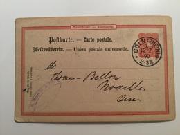 FL2853 Deutsches Reich Ganzsache Stationery Entier Postal P 14/01 Von Köln Nach Frankreich - Allemagne