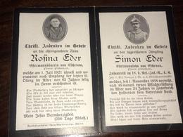 Sterbebild Wk1 Ww1 Bidprentje Avis Décès Deathcard RIR18 Seit 1. November 1918 Vermisst Aus Eschenau Pittenhart - 1914-18
