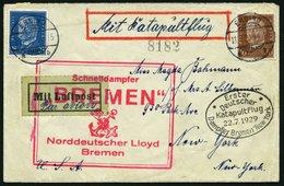 KATAPULTPOST 1a BRIEF, 22.7.1929, &quot,Bremen&quot, - New York, Landpostaufgabe, Prachtbrief - Briefe U. Dokumente