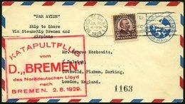 KATAPULTPOST 2a BRIEF, 1.8.1929, &quot,Bremen&quot, - Bremen, US-Landpostaufgabe, Prachtbrief - Briefe U. Dokumente