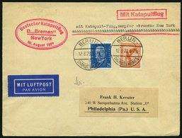 KATAPULTPOST 3a BRIEF, 20.8.1929, &quot,Bremen&quot, - New York, Landpostaufgabe, Prachtbrief - Briefe U. Dokumente