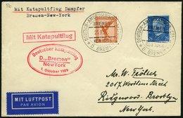 KATAPULTPOST 7b BRIEF, 1.10.1929, &quot,Bremen&quot, - New York, Seepostaufgabe, Prachtbrief - Briefe U. Dokumente