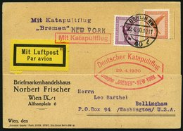 KATAPULTPOST 10a BRIEF, 29.4.1930, &quot,Bremen&quot, - New York, Landpostaufgabe, Prachtkarte - Briefe U. Dokumente
