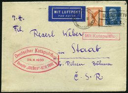 KATAPULTPOST 10b BRIEF, 29.4.1930, &quot,Bremen&quot, - New York, Seepostaufgabe, Brief Feinst - Briefe U. Dokumente