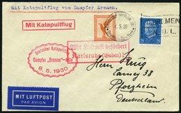 KATAPULTPOST 11c BRIEF, 7.5.1930, &quot,Bremen&quot, - Southampton, Deutsche Seepostaufgabe, Prachtbrief - Briefe U. Dokumente