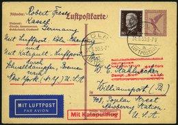 KATAPULTPOST 14a BRIEF, 5.6.1930, Bremen - Boston, Landpostaufgabe, Auf 15 Pf. Adler - Ganzsachenkarte (P 169!) Mit Mi.N - Briefe U. Dokumente