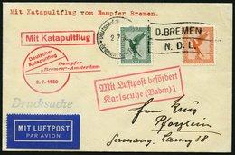 KATAPULTPOST 17c BRIEF, 2.7.1930, &quot,Bremen&quot, - Southampton, Deutsche Seepostaufgabe, Drucksache, Prachtbrief - Briefe U. Dokumente